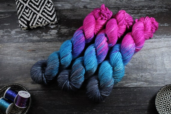 Hand Dyed Chunky Yarn, Merino, Nylon - Slushie Collision