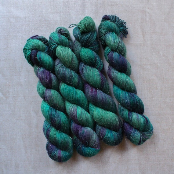 Hand Dyed Sparkle Sock Yarn - Swamp Creature