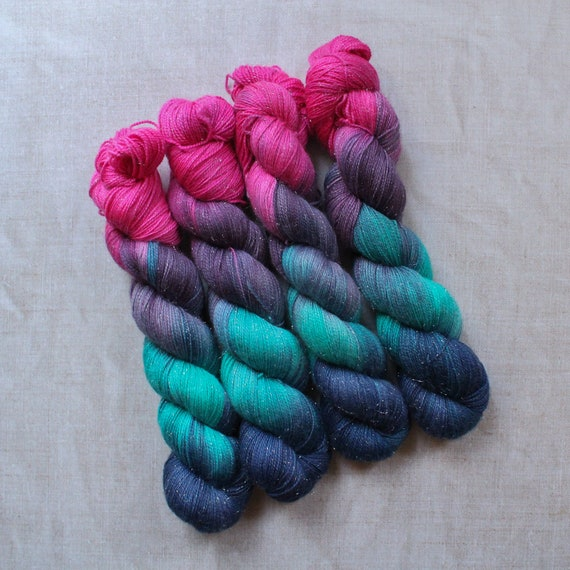 Hand Dyed Sparkle Sock Yarn - Drag King