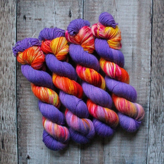 Hand Dyed Ultimate Sock Yarn, BFL High Twist, Micro Self Striping Yarn - Light It Up