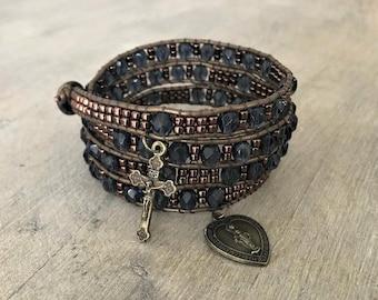 Rosary wrap bracelet - bronze and blue