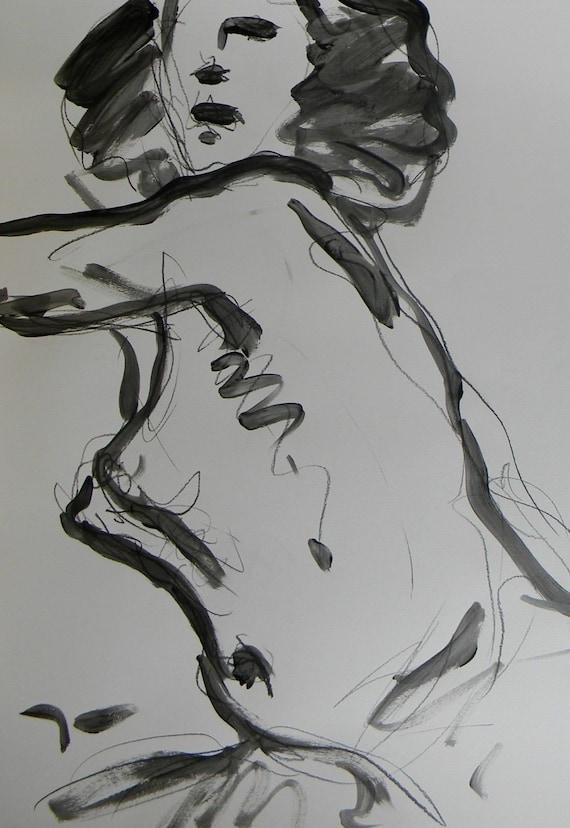 Jose Trujillo Abstract Acrylic Painting Nude Woman Black /& White Original Decor
