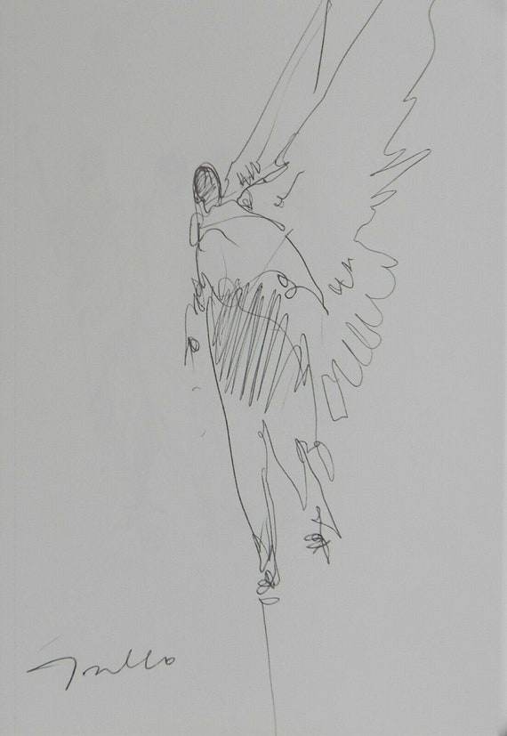 JOSE TRUJILLO Expressionism Pen Ink Paper 5x8 One Angel Figure Modern Art NEW