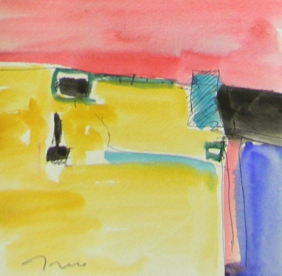 Jose Trujillo Original Watercolor Painting Abstract Expressionism Modernist Art
