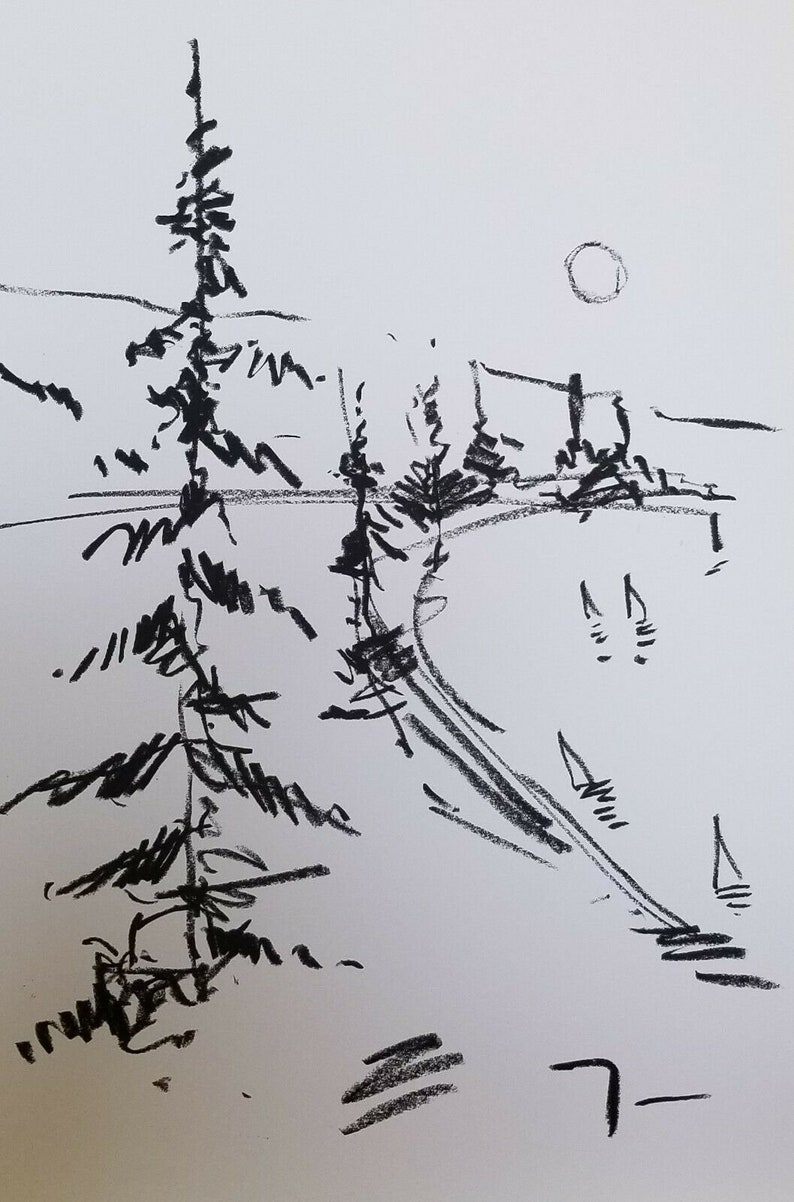Jose Trujillo Oil Pastels Painting Abstract Minimalism 13x19 Pine Trees Signed