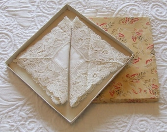 Pair of Vintage Cream Coloured Cotton and Handmade Lace Trimmed Handkerchiefs