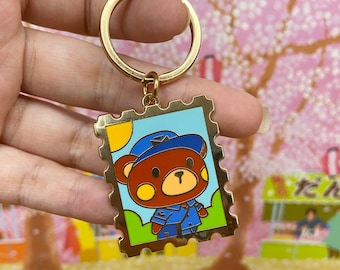 Postal Bear Enamel Keychain