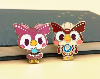 Celeste and Blathers Enamel Pin - Animal Crossing