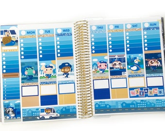 Postal Friends Planner Stickers Weekly Kit - For use with vertical layout planners (1.5 inch wide columns)