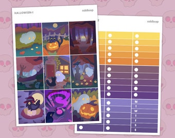 """Halloween Individual Sheets Planner Stickers - For use w/ vertical layout planners (1.5"""" wide columns)"""