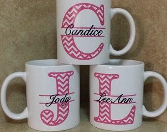 2a9c589b0cc Chevron Coffee Mugs-Monogram Coffee Mugs-Personalized Coffee Mug