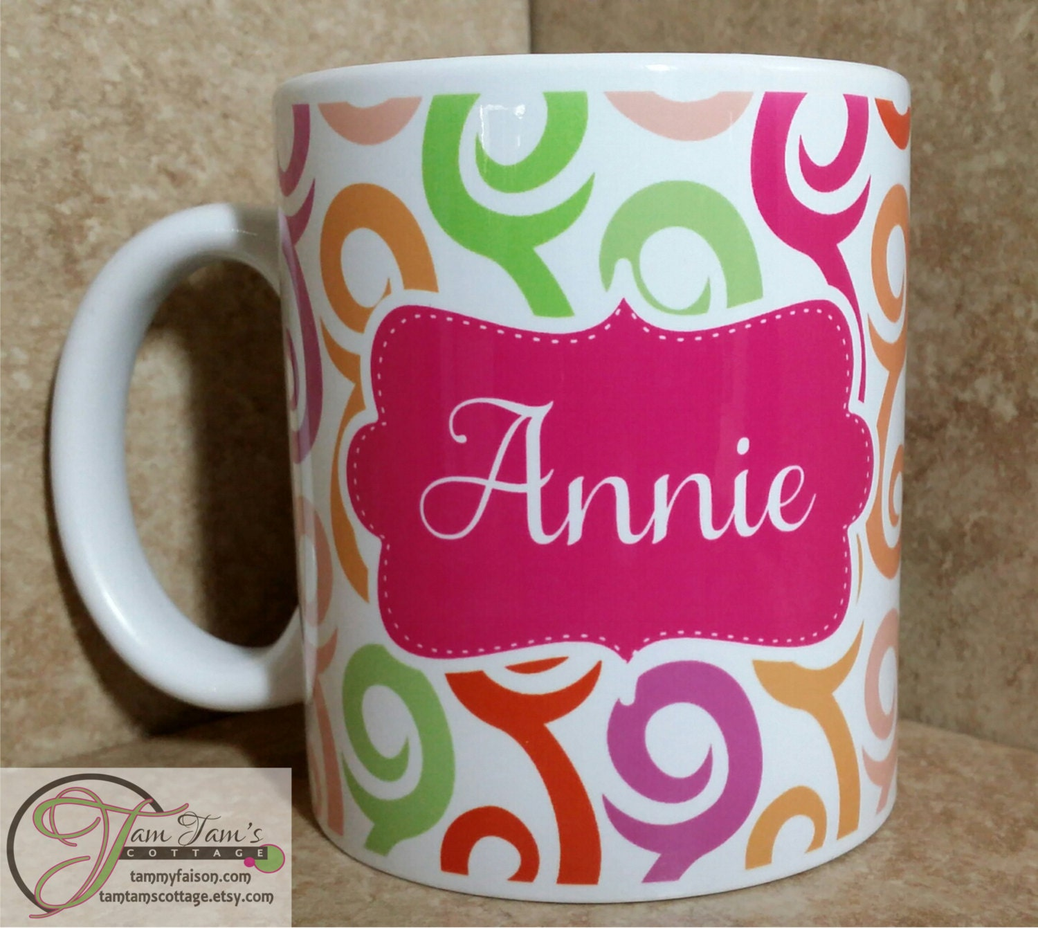 Swirl Design Coffee Mug Personalized Name Mug Custom Mug | Etsy