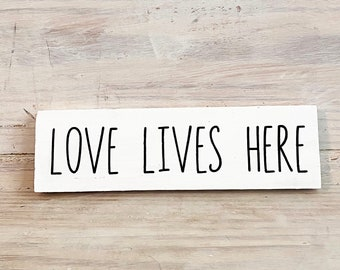 Sign 9x9 Sign Mini Love Lives Here Sign Shelf Decor Housewarming Gift Tiered Tray Sign Framed Wood Sign Shelf Sign Home Sign