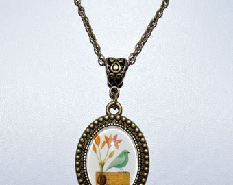 """Bird"" glass cabochon necklace"