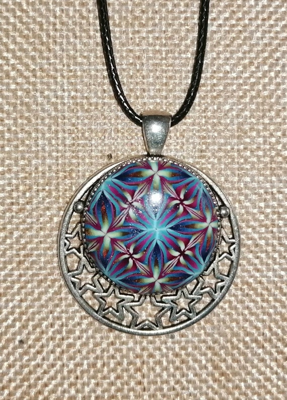 Cabochon pendant necklace in polymer paste fimo