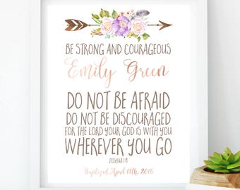 First Communion girl Baptism  Gift strong courageous Dedication Baby Sign Christian Scripture lilac Nursery baby girl Joshua 1:9 idb76