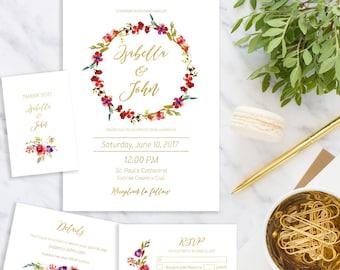 Wedding Invitation suite Printable Floral Wedding Invitation set  Wedding wreath Invitation kit download digital custom Invite idw9