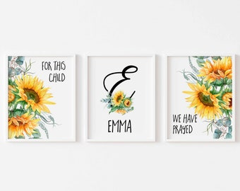 For This Child We Have Prayed Sunflower Name Sign For Girl Sunflower Monogram Nursery Wall Art Bible Verse Printable 1 Samuel 1:27