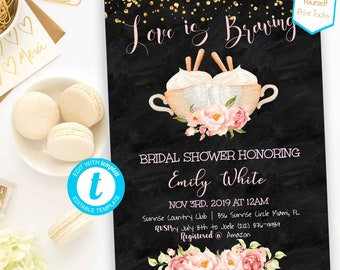 8822237e83e Love is brewing bridal shower Invitation DIY Shower coffee shower Template  PDF Bridal Shower Editable Couples Shower Wedding Shower Invite