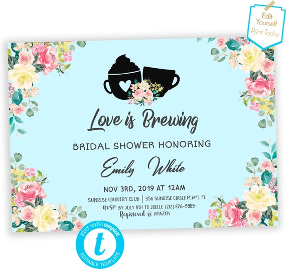 126b6e862279 Love is brewing bridal shower Invitation Coffee shower