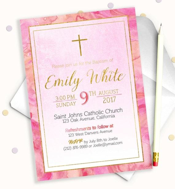 girl baptism invitation shabby chic personalized christening etsy