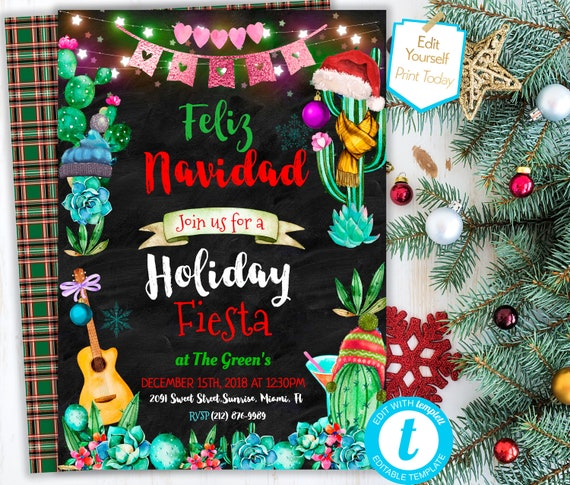 Feliz Navidad Cristmas.Feliz Navidad Holiday Invitation Christmas Fiesta Party Invitation Editable Feliz Navidad Invite Template Winter Cactus Printable Pdf Invite
