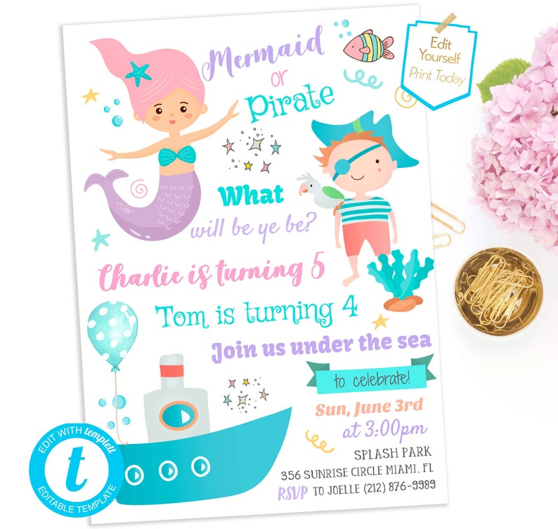 Download Mermaid And Pirate Birthday Invitation Boy Girl Party Template Editable Under The Sea Invite Twins