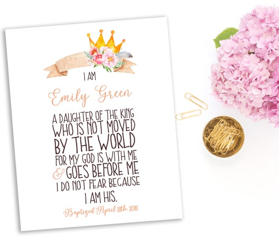 Baby Girl Bible Verse Baptism Girl Gift I Am The Daughter Of A Etsy