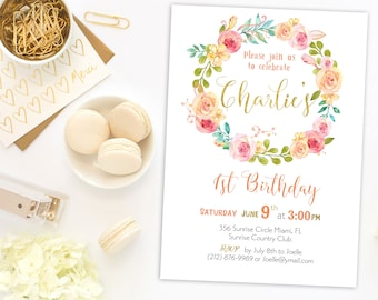Download First Birthday Invitation 1st  Baby girl Birthday Invitation Shabby Chic Girl Blush Pink Invite Printable floral wreath idkb37