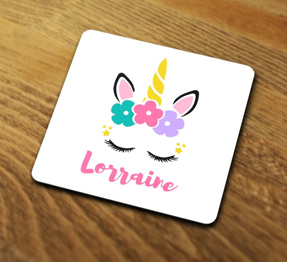 Add any name Dancing Jumping Cool gift Personalised Unicorn Coaster