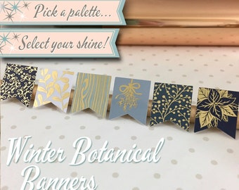 Foiled Planner Stickers | Winter Botanical Banners | 30 Stickers Total