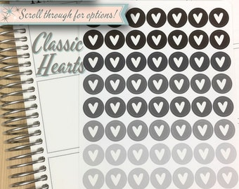 Icon Planner Stickers | Classic Hearts | 56 Stickers Total