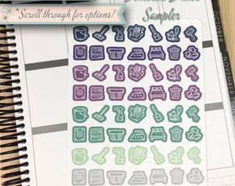 Icon Stickers | Domestic Duties Sampler | 56 Stickers Total