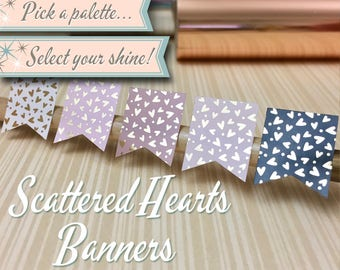 Foiled Planner Stickers   Scattered Hearts Banners   30 Stickers Total