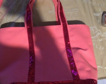 Pink sequin tote bag