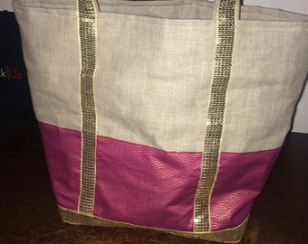 Summer linen tote bag and raspberry and gold fabrics