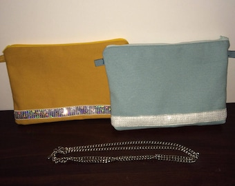 Canvas and lace sequin Vanessa Bruno-inspired pouch
