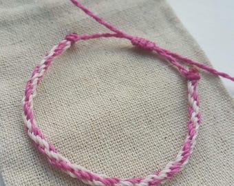 Pink Breast Cancer Awareness Charity Friendship Bracelet/ Linhasita Wax Cord String Bracelet/ Breast Cancer Bracelet/ Adjustable Bracelet