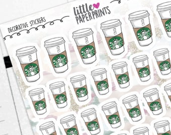 """DECORATIVE - """"A Cup of Coffee To Go"""" Individual Decorative Stickers - Decorative Planner Stickers"""