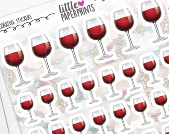"""DECORATIVE - """"A Glass of RED Wine"""" Individual Decorative Stickers - Decorative Planner Stickers"""