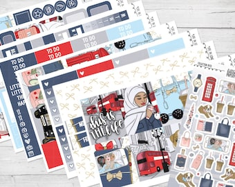 "8 PAGE FULL KIT | ""Life In London"" Glossy Planner Sticker Kit 