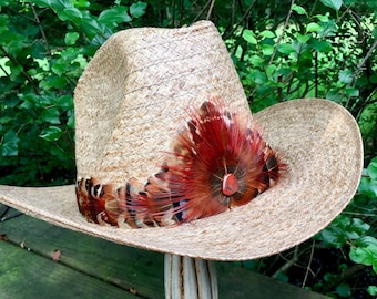 Feather Hat Band On Leather W Crown