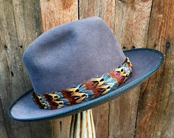 Narrow Feather Hat Band On Leather No Crown