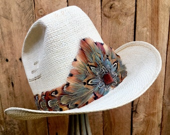 Feather Hat Band with Pheasant feathers in brown tones, black, green and blue - Red Tigers Eye on crown