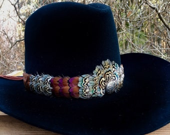 Feather hat band on deerskin w/ties, vintage belt tips & sterling silver accent- pheasant feathers in brown and green