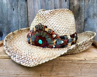 442c6146 Feather Hat Band w/leather ties & genuine Turquoise from American Southwest