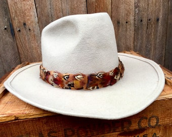 Feather Hat Band On Leather No Crown