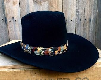 19ade2606528e Feather hat band on leather