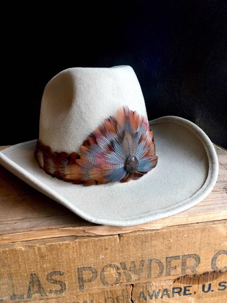 Feather Hat Band for Western hat - Pheasant, Chukar Partridge, Wild Turkey  & Wild Duck feathers