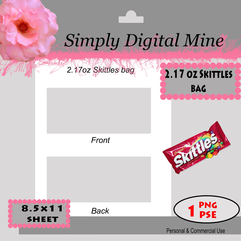 YOU Design 2.17 oz Skittles bag Templates